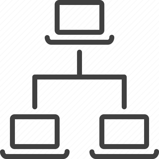 hierarchy, laptop, relation, structure, web icon