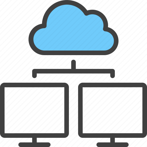 cloud, device, hierarchy, monitor, relation, sync icon