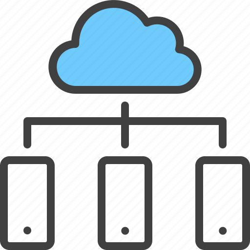 cloud, device, hierarchy, iphone, relation, smartphone, sync icon