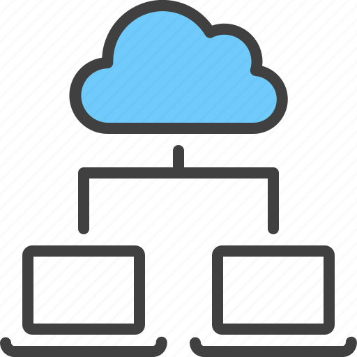 cloud, device, hierarchy, laptop, relation, sync icon