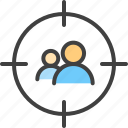 aim, audience, bullseye, goal, group, people, target icon