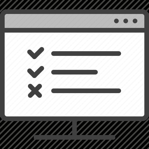 Checklist, computer, error, monitor, test, verification icon - Download on Iconfinder