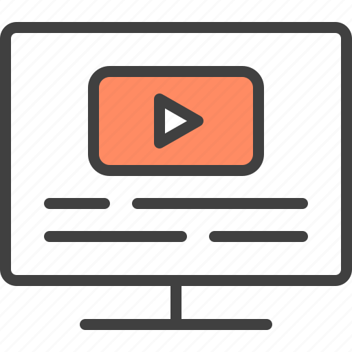 blog, cms, content, page, play, video, vlog icon