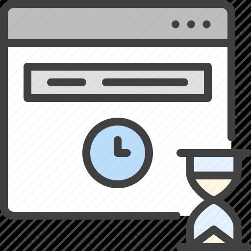 browser, deadline, hourglass, loading, wait, window icon