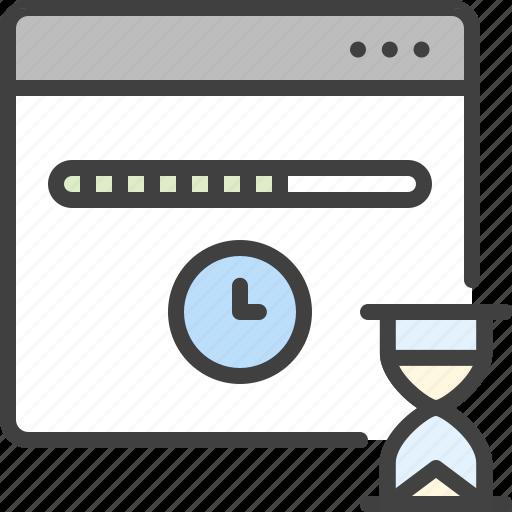 browser, deadline, hourglass, loading, progress, wait, window icon