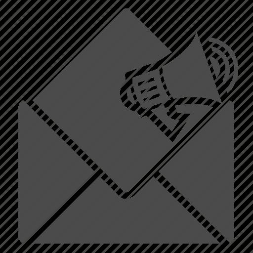 advertising, bullhorn, communication, e-mail, envelope, letter, marketing, media icon