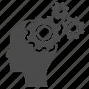 avatar, boss, brain storming, businessman, gear, person, human