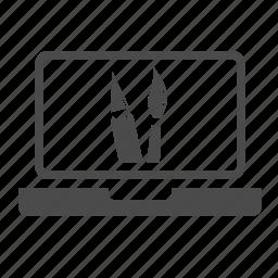 brush, creative, design, graphic, laptop, pencil, web design icon