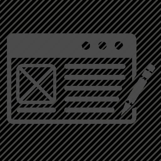 application, article, blog, blogging, content, seo, web design icon