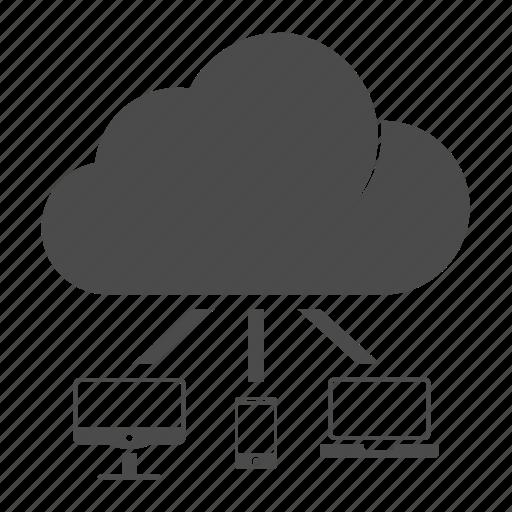 cloud, cloud computing, communication, computer, connection, laptop, mobile icon