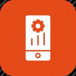 gear, marketing, mobile, phone, programing, settings icon