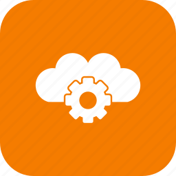 cloud, data, gear, network, server, settings, upload icon