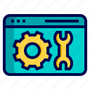 configuration, gear, maintenance, setting, webpage, website, wrench icon