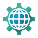 cogwheel, development, globe, network, online, optimazation, website icon