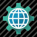cogwheel, development, globe, network, optimazation, website, online