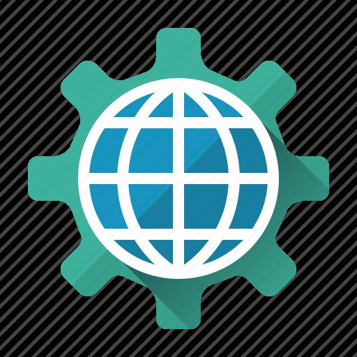 cogwheel, development, globe, network, online, optimazation, website icon