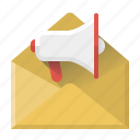 email campaigns, envelope, letter, loudhailer, marketing, seo, speaker icon