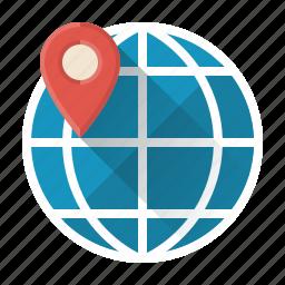 development, globe, local, location, network, search, seo icon
