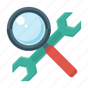 magnifier, optimization, search optimization, seo, service, tools, wrench icon