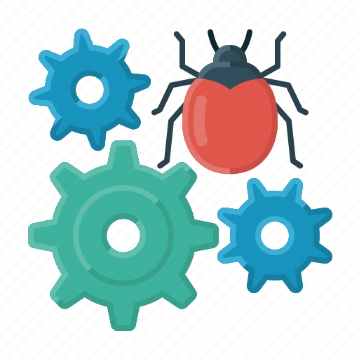 bug, bug fixing, cogwheels, correction, error, fixing, reprogramming icon