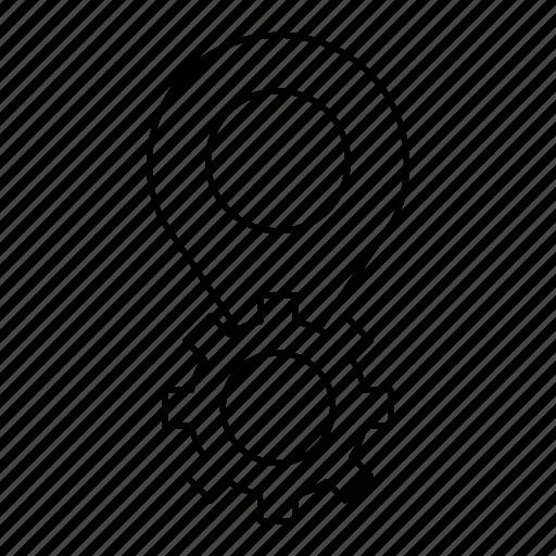 gear, gearpin, pin icon