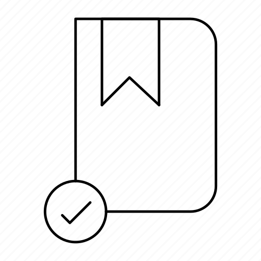 book, checkmark, ok, rebbon icon