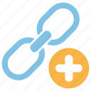 link, add, plus, communication, connection, network, internet