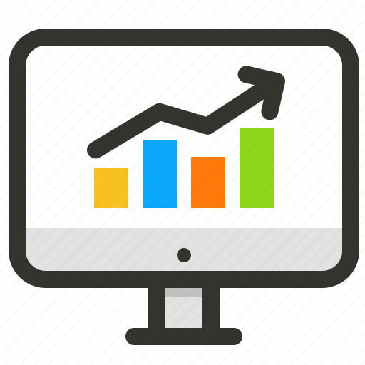 analytics, chart, computer, profit, sales, screen, statistics icon
