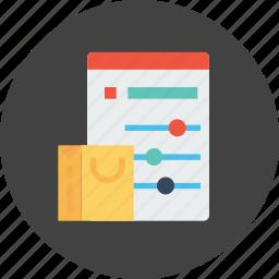 bag, cart, online, optimization, performance, shopping, window icon