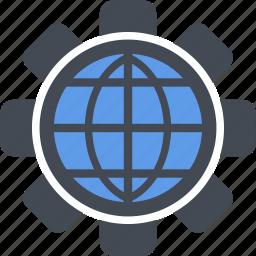 configuration, gear, globe, optimization, preferences, seo, setting icon