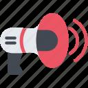 megaphone, bullhorn, loudspeaker, sound, speaker, strike, volume