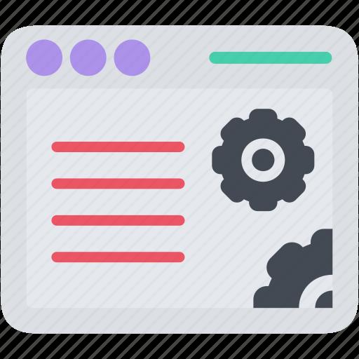application, browser, gear, seo, web, window icon