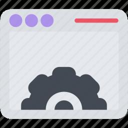 app, browser, gear, seo, setting, web, window icon