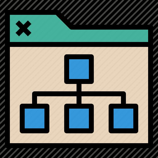 chart, folder, link, seo, web icon