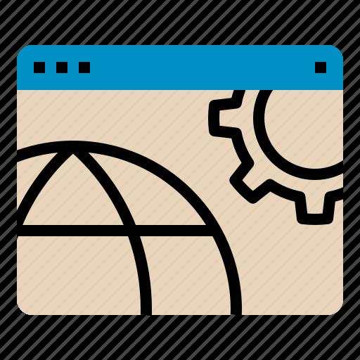 gear, globe, obtimize, optimization, seo, web, website icon