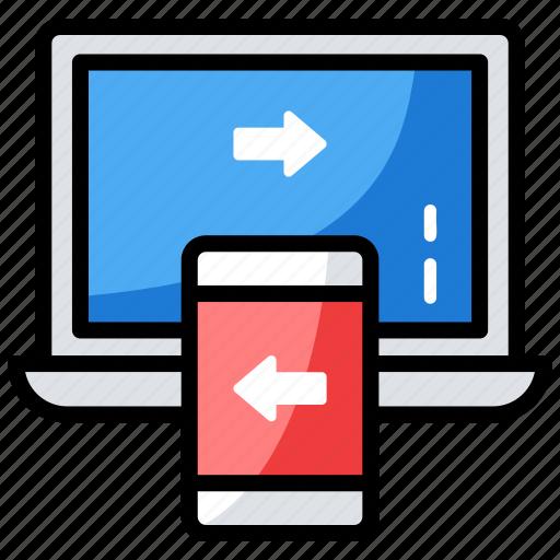data exchanging, data synchronization, data transfer, data transmission, information transfer icon