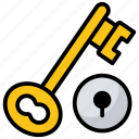 access, key, locker key, open lock, room key icon