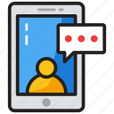 communication, mobile chatting, mobile conversation, online talking, video chat icon