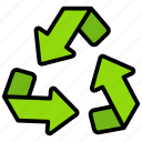 conservation, reclaim, recover, recycling, reprocess, reuse icon