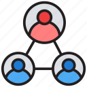 collaboration, leadership, social network, team network, teamwork icon