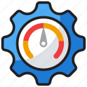 effectiveness, efficiency measure, performance ratio, productivity symbol, speedometer icon