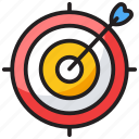 archery, archery arrow, bullseye, dart, dartboard, target icon