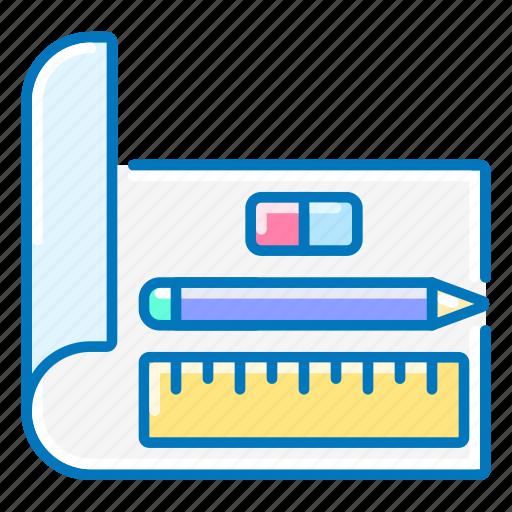 design, eraser, pencil, ruler, seo icon
