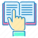 book, finger, instruction, seo, up icon