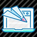 landing, laptop, page, paper, plane, seo, website
