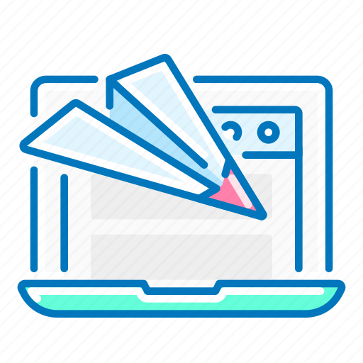 landing, laptop, page, paper, plane, seo, website icon