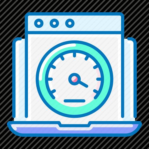 laptop, performance, seo, speedometer icon