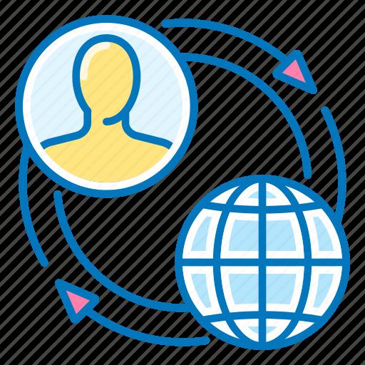 flow, internet, seo, user icon