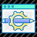 design, gear, graphic, pencil, seo, web icon
