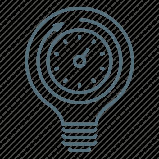 bulb, clock, light, productivity, seo, time icon
